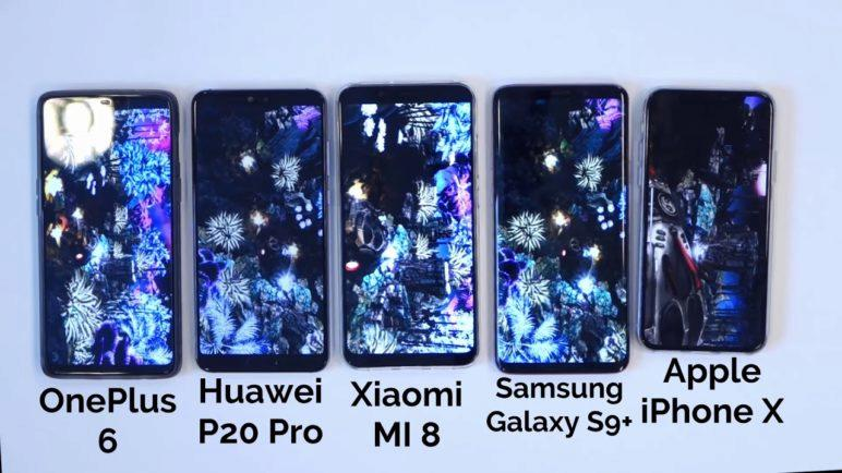AnTuTu benchmark: OnePlus 6 vs Xiaomi Mi 8 vs iPhone X vs Samsung Galaxy S9+ vs Huawei P20 Pro