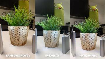 apple iphone xs vs huawei mate 20 pro vs samsung galaxy note 9 foti skvele kytice umele osvetleni