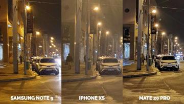 apple iphone xs vs huawei mate 20 pro vs samsung galaxy note 9 nocni ulice praha detail