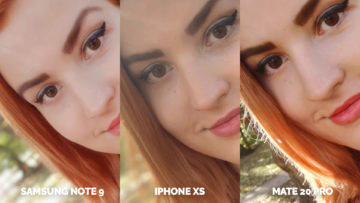 apple iphone xs vs huawei mate 20 pro vs samsung galaxy note 9 selfie fotky detail
