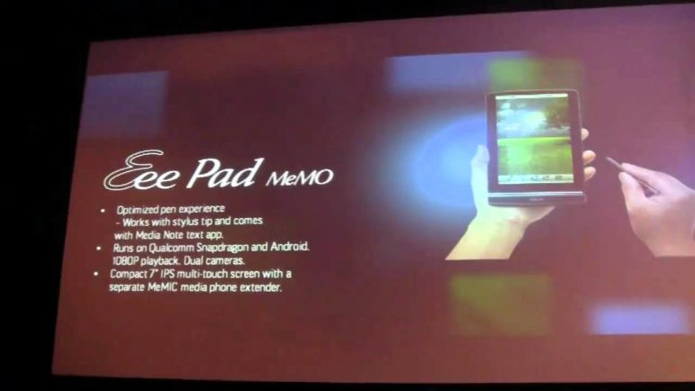 "ASUS Eee Pad MeMO: Jonney Shih unveils 7"" Snapdragon powered Android tablet."