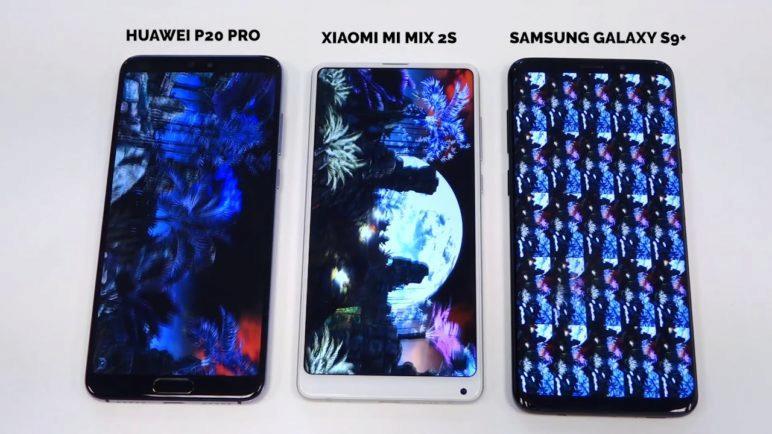 Benchmark Xiaomi Mi Mix 2S vs. Samsung Galaxy S9+ vs. Huawei P20 Pro