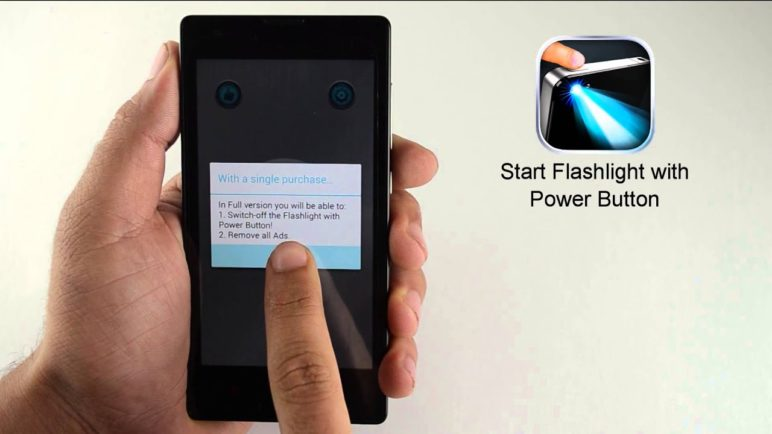 Demo of Power Button Flashlight app for Android
