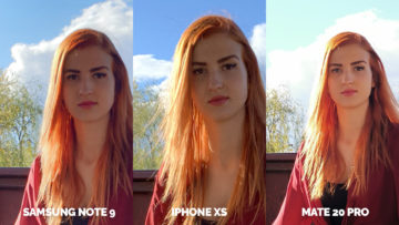 fotoaparat apple iphone xs vs huawei mate 20 pro vs samsung galaxy note 9 modelka detail