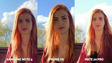 fotoaparat apple iphone xs vs huawei mate 20 pro vs samsung galaxy note 9 modelka detail