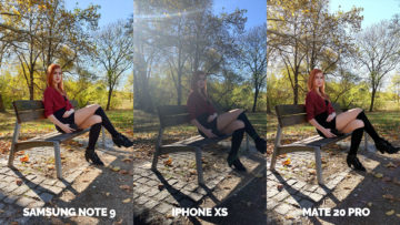 fotografie apple iphone xs vs huawei mate 20 pro vs samsung galaxy note 9 modelka lavicka