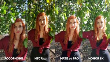 fotografie Pocophone F1 vs. Huawei Mate 20 Pro vs. Honor 8X vs. HTC U12+ modelka ve vetvich