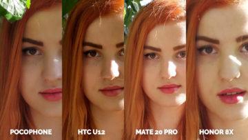fotografie Pocophone F1 vs. Huawei Mate 20 Pro vs. Honor 8X vs. HTC U12+ modelka ve vetvich detail