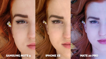 fotomobily apple iphone xs vs huawei mate 20 pro vs samsung galaxy note 9 modelka detail tvare
