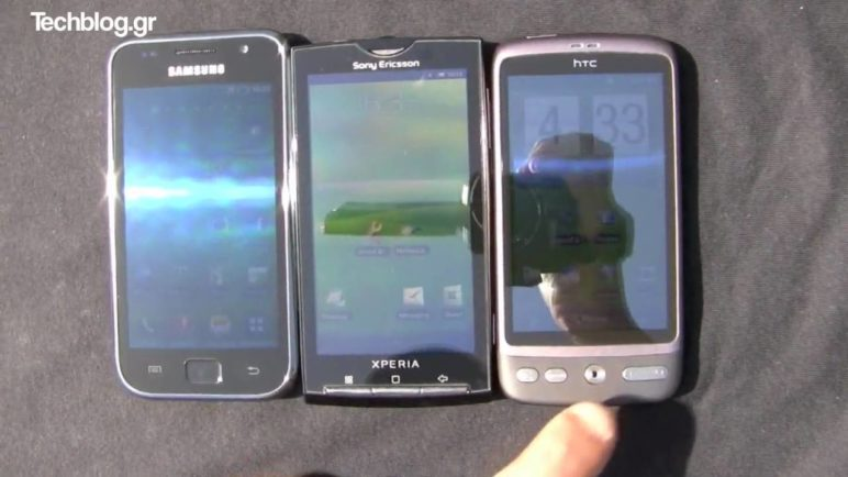 Galaxy S vs X10 vs Desire in direct sunlight