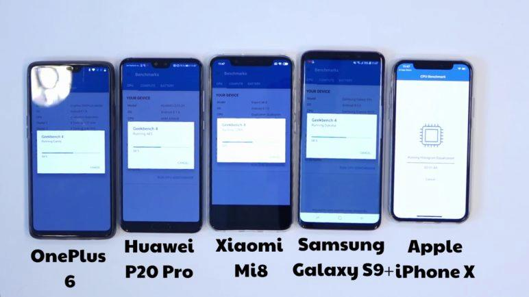 Geekbench 4 benchmark: OnePlus 6 vs Xiaomi Mi 8 vs iPhone X vs Samsung Galaxy S9+ vs Huawei P20 Pro