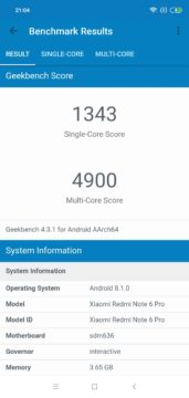 GeekBench Xiaomi Redmi Note 6