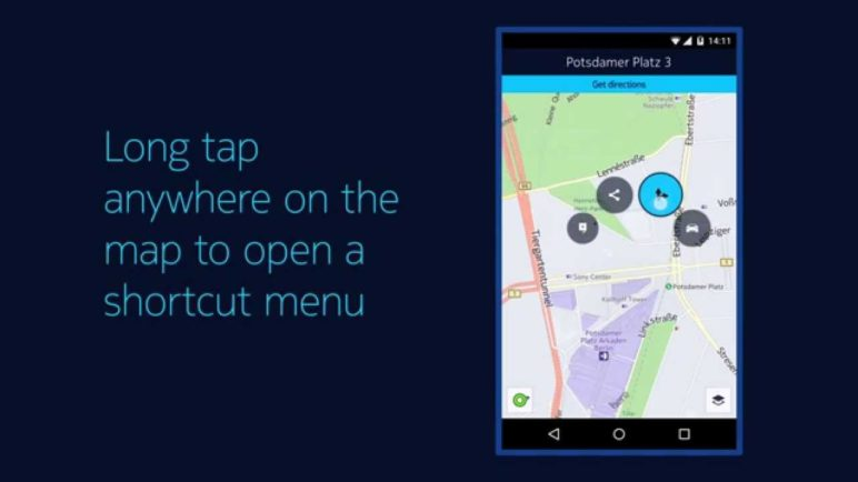 HERE for Android – The new contextual menu