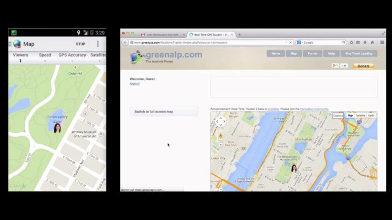 "How to share your location with RTT2 - ""Send my url"""
