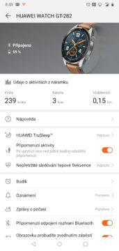 Huawei Health aplikace Huawei Watch GT domovska obrazovka