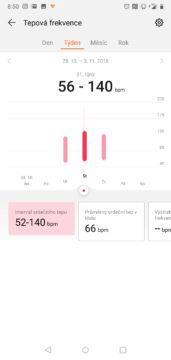Huawei Health aplikace Huawei Watch GT tepova frekvence
