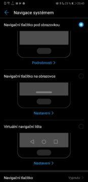 navigace systemu android emui huawei honor