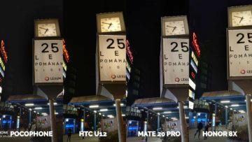 nocni fotografie Pocophone F1 vs. Huawei Mate 20 Pro vs. Honor 8X vs. HTC U12+