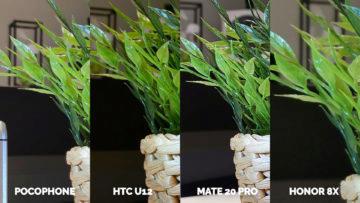 Pocophone F1 vs. Huawei Mate 20 Pro vs. Honor 8X vs. HTC U12+ fotografie kvetinac detail