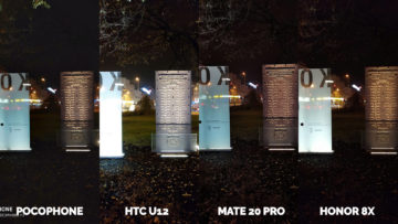 Pocophone F1 vs. Huawei Mate 20 Pro vs. Honor 8X vs. HTC U12+ pamatnik noc foto