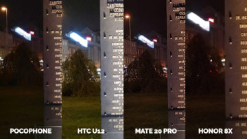 Pocophone F1 vs. Huawei Mate 20 Pro vs. Honor 8X vs. HTC U12+ pamatnik noc foto detail