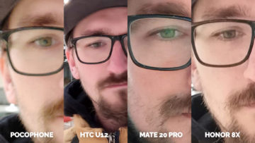 Pocophone F1 vs. Huawei Mate 20 Pro vs. Honor 8X vs. HTC U12+ selfie muz detail