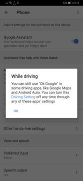 Potvrzení Google Assistant Voice Match