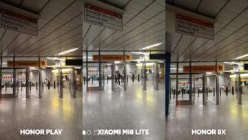 Srovnani fotoaparatu Honor Play vs Xiaomi Mi 8 Lite vs Honor 8X metro noc
