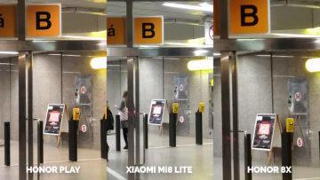 Srovnani fotoaparatu Honor Play vs Xiaomi Mi 8 Lite vs Honor 8X metro noc detail