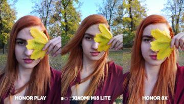 Srovnani fotoaparatu Honor Play vs Xiaomi Mi 8 Lite vs Honor 8X modelka s listem