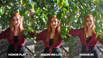 Srovnani fotoaparatu Honor Play vs Xiaomi Mi 8 Lite vs Honor 8X modelka ve vetvich