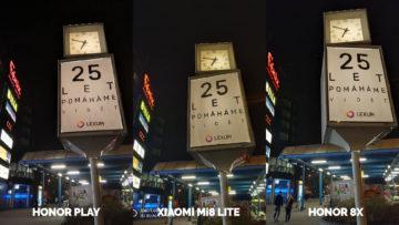 Srovnani fotoaparatu Honor Play vs Xiaomi Mi 8 Lite vs Honor 8X nocni fotografie hodiny
