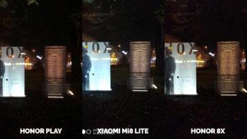 Srovnani fotoaparatu Honor Play vs Xiaomi Mi 8 Lite vs Honor 8X nocni fotografie pomnik