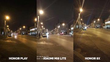 Srovnani fotoaparatu Honor Play vs Xiaomi Mi 8 Lite vs Honor 8X nocni ulice