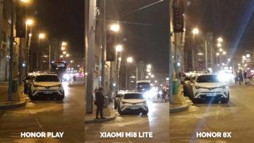 Srovnani fotoaparatu Honor Play vs Xiaomi Mi 8 Lite vs Honor 8X nocni ulice detail