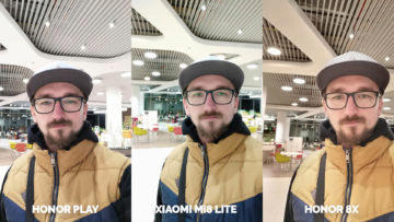 Srovnani fotoaparatu Honor Play vs Xiaomi Mi 8 Lite vs Honor 8X selfie umele osvetleni
