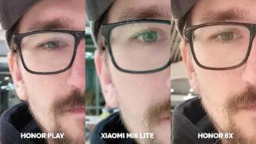Srovnani fotoaparatu Honor Play vs Xiaomi Mi 8 Lite vs Honor 8X test selfie umele osvetleni