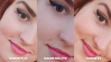Srovnani fotoaparatu Honor Play vs Xiaomi Mi 8 Lite vs Honor 8X testovani selfie detail