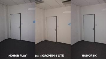 Srovnani fotoaparatu Honor Play vs Xiaomi Mi 8 Lite vs Honor 8X umele osvetleni dvere