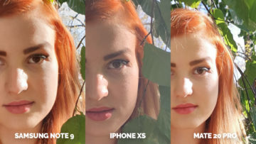 testovani fotoaparatu apple iphone xs vs huawei mate 20 pro vs samsung galaxy note 9 detail na modelku