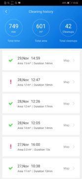 Xiaomi Roborock S50 recenze Xiaomi Mi Home aplikace historie uklidu