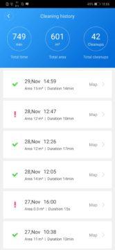 Xiaomi Roborock S50 recenze Xiaomi Mi Home aplikace historie vysavani