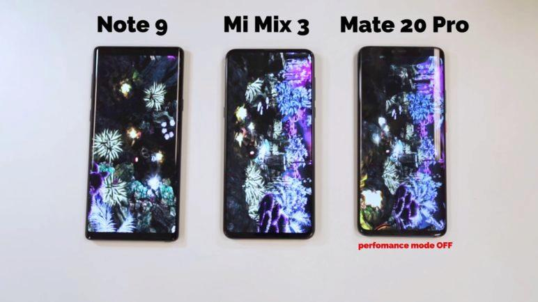 Antutu benchmark - Xiaomi Mi Mix 3 vs Huawei Mate 20 Pro vs Samsung Galaxy Note 9