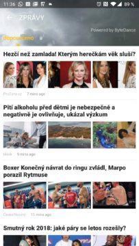 Bulvární články v aplikaci