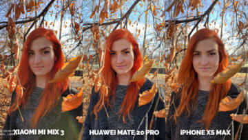 Fototest Xiaomi Mi Mix 3 vs Huawei Mate 20 Pro vs Apple iPhone XS Max modelka portret