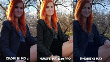 Fototest Xiaomi Mi Mix 3 vs Huawei Mate 20 Pro vs Apple iPhone XS Max modelka proti svetlo detail
