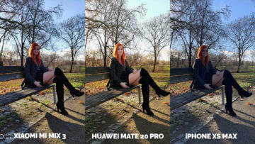 Fototest Xiaomi Mi Mix 3 vs Huawei Mate 20 Pro vs Apple iPhone XS Max modelka protisvetlo