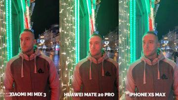Fototest Xiaomi Mi Mix 3 vs Huawei Mate 20 Pro vs Apple iPhone XS Max noc portret