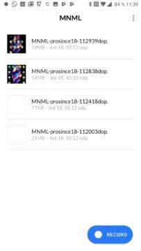 Aplikace MNML Screen Recorder