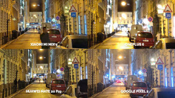Noční režim Xiaomi Google Huawei OnePlus nocni ulice detail